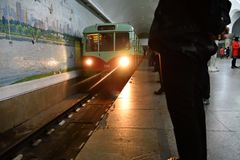 korea norr pyongyang Tunnelbanastation royaltyfria bilder