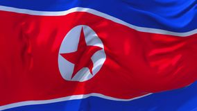 Korea North Flag Waving in Wind Continuous Seamless Loop Background. vector illustration
