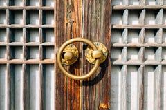 Korea traditional wooden door. Korea old traditional wooden door Royalty Free Stock Photo