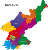 Korea północna mapa Obrazy Royalty Free
