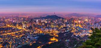 Korea, Panorama von Seoul-Stadt-Skylinen, Südkorea lizenzfreie stockfotografie