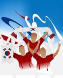 Korea Republic crowd. Crowd of soccer people fan and three soccer players with scarf and flag Royalty Free Stock Images