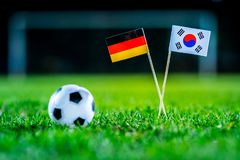 Korea Republic, South Korea - Germany, Group F, Wednesday, 27. June, Football, World Cup, Russia 2018, National Flags on green gra. Ss, white football ball on stock photo