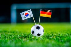 Korea Republic, South Korea - Germany, Group F, Wednesday, 27. June, Football, World Cup, Russia 2018, National Flags on green gra. Ss, white football ball on royalty free stock images