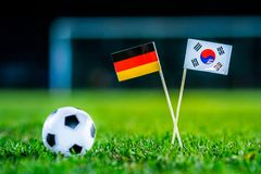 Korea Republic, South Korea - Germany, Group F, Wednesday, 27. June, Football, World Cup, Russia 2018, National Flags on green gra. Ss, white football ball on royalty free stock photos