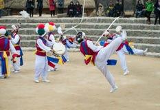 Koreańscy Ludowi tancerze i muzycy Obraz Stock
