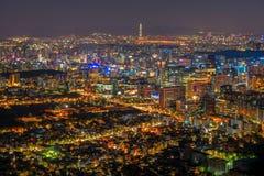 Korea,Seoul city. And namsan tower at night Royalty Free Stock Photo