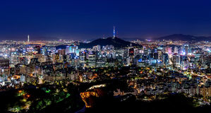 Korea,Seoul city skyline and Seoul tower. At nigth Royalty Free Stock Photography
