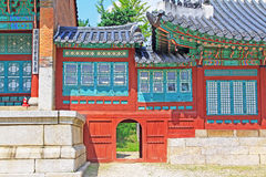 Korea Seoul Gyeongbokgung Palace, Jibokjae. Gyeongbokgung Palace built in 1395, was the main royal palace of the Joseon dynasty. Jibokjae is a two-storey private stock images