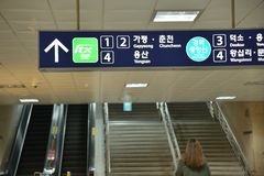 Korea Seoul metro station direction signage. Korea Seoul metro station signage board stock photography