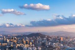 Korea Seoul stadshorisont, den bästa sikten av Sydkorea Fotografering för Bildbyråer