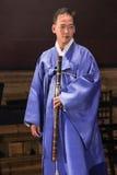 Koreański muzyk taegum gracz Obrazy Royalty Free