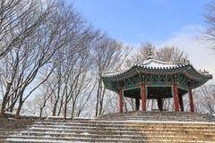 Korea style pavilion in the snow Royalty Free Stock Photos