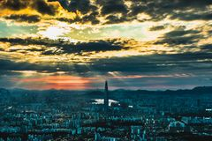 South Korea skyline of Seoul, The best view of South Korea with Lotte world mall at Namhansanseong Fortress. Royalty Free Stock Photography
