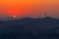 Korea,Sunset of Seoul City Skyline, The best view of South Korea Royalty Free Stock Photo