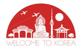 Korea top famous landmark silhouette and dome with red color sty Royalty Free Stock Photos
