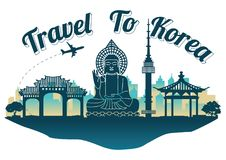 Korea top famous landmark silhouette style on island famous lan royalty free stock image
