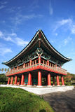 Korea traditional building,Jeju Volcanic Island. Korea traditional building with blue sky background in  garden,Jeju Volcanic Island,Korea Stock Image