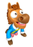Korea Traditional 3D Horse Mascot is a polite greeting. 3D Anima Stock Images