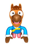 Korea Traditional 3D Horse Mascot is a polite greeting. 3D Anima Royalty Free Stock Images