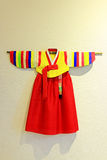 Korea Traditional Hanbok Clothes. Hanbok South Korea or Joseon-ot North Korea is the representative example of traditional Korean dress. It is characterized by Royalty Free Stock Photography
