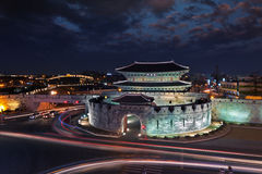 Korea traditional landmark su-won castle stock photo