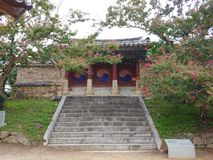 Korea traditional stone stair royalty free stock photo