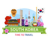 Korea Travel Composition Flat Poster Stock Photo