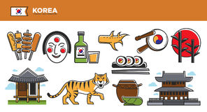 Korea travel destination advertisement with national symbols set. Korea travel destination advertisement. Traditional food, authentic architecture, striped tiger royalty free illustration