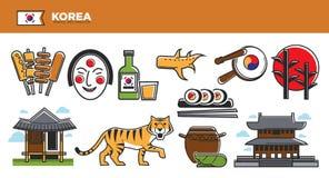 Korea Travel Destination Advertisement With National Symbols Set Stock Photography