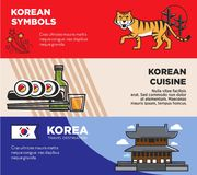 Korea travel destination promotional posters with national symbols and cuisine Royalty Free Stock Image