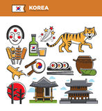 Korea travel famous landmarks and Korean culture traditional tourist attractions vector icons Royalty Free Stock Image