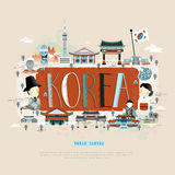 Korea travel poster. Moder Korean travel poster design with attractions