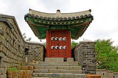 Korea UNESCO światowe dziedzictwo Jest usytuowanym †'Hwaseong forteca Zdjęcie Stock