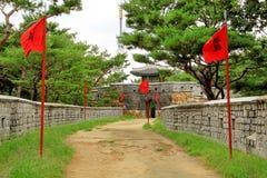 Korea UNESCO światowe dziedzictwo Jest usytuowanym †'Hwaseong forteca Obraz Stock