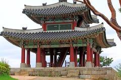 Korea UNESCO światowe dziedzictwo Jest usytuowanym †'Hwaseong fortecy pawilon Zdjęcie Stock