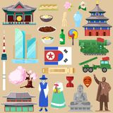 Korea vector korean traditional culture symbol of southkorea or northkorea country illustration tourism set of royalty free illustration