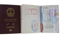 Korea VISA and China Passport Stock Photography