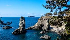 Korea Water Cliffs. Jeju Island cliffs in South Korea Stock Photo