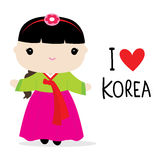 Korea Women National Dress Cartoon Vector royalty free illustration