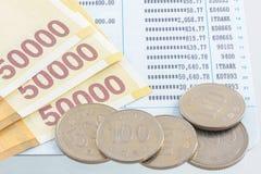 Korea Won money with financial statement. Korea Won money, bank not and coins with financial statement Stock Photo