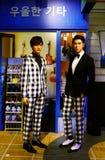 Koreaans pop tvxq van uitvoerders maximum het chanming en yuunho wasstandbeeld bij Mevrouw tussauds in Hongkong stock foto