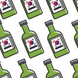 Koreaans traditioneel soju naadloos patroon van de alcoholdrank royalty-vrije illustratie