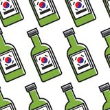 Koreaans traditioneel soju naadloos patroon van de alcoholdrank stock illustratie