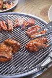 Koreaanse BBQ de plakbarbecue van de paddestoelkip stock foto's