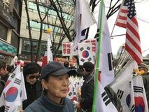 Koreaanse en Amerikaanse Vlaggen Royalty-vrije Stock Afbeelding