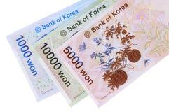 Koreaanse Gewonnen muntrekeningen Royalty-vrije Stock Foto