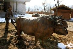 Koreaanse landbouwer monument SEOEL - JULI 30: Het veranderen van wachten van de vriend van de koning Royalty-vrije Stock Afbeelding