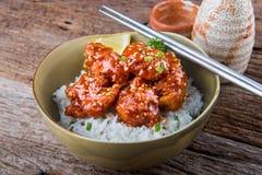 Koreaanse stijl kruidige knapperige kip en rijst stock foto