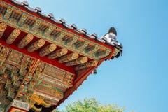 Koreaanse traditionele houten eaves bij Beomeosa-tempel in Busan, Korea royalty-vrije stock fotografie